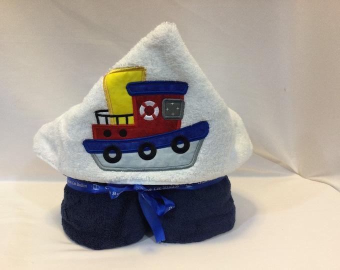 Tugboat Hooded Towel for Kids, FREE SHIPPING, Full Size Bath Towel, Hoodie; Bath Wrap - IPFG-000421