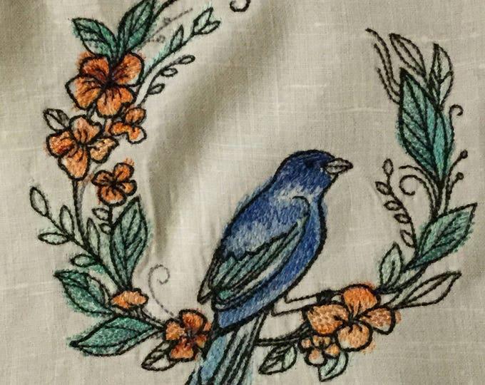 """Table Runner - Vintage Linen Table Runner - Bird Embroidery (18"""" x 53"""") - IPFG-000018"""