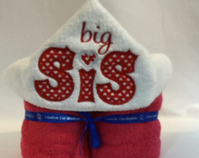 Big Sis Hooded Towel for Kids, FREE SHIPPING, Full Size Plush Bath Towel; Bath Wrap, Red Lettering - IPFG-000253