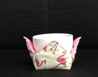 "Pink Flamingo Microwave Bowl Cozy-Small 4"" Bottom Diameter; Leftover Hot Bowl Pad; Ice Cream Bowl Pad, Flamingo Bird Reversible-IPFG-000226"