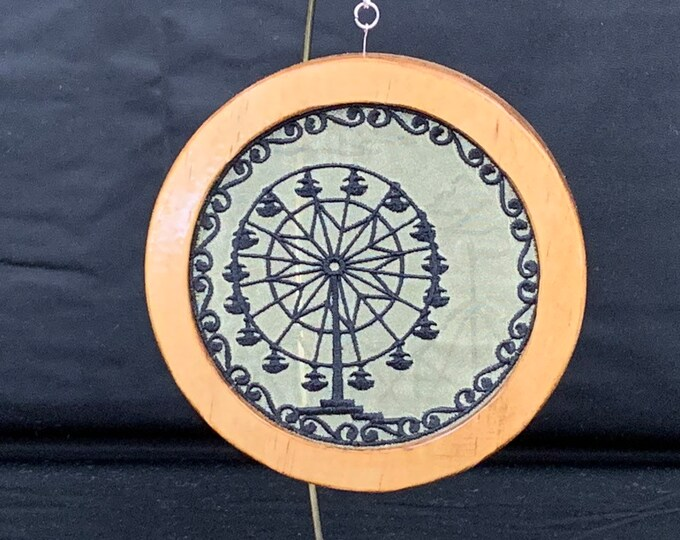 3-D Ferris Wheel Silhouette Christmas Ornament; Cherry Stained Wood Frame; Framed Ornament; Embroidered Ornament - IPFG-000235