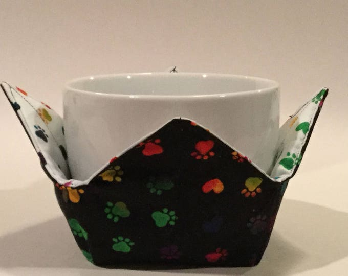 "Dog Paws Microwave Bowl Cozy-Small 4"" Bottom Diameter; Rainbow Paws, Lunch Cozy, Coffee Cup Size; Small Bowl Size; Reversible - IPFG-000077"
