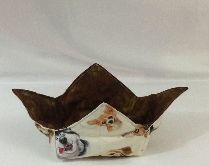 Dog Selfie Microwave Bowl Cozy; Medium, Salad Bowl Size, Reversible, Free Shipping, Hot Bowl Pad-IPFG-000346