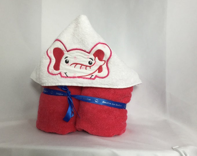 """Girl Elephant Hooded Towel for Kids, Hot Pink Towel, Approx 30"""" W x 52"""", Bath Wrap; FREE SHIPPING - IPFG-000101"""