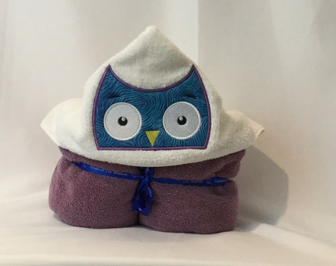 Owl Hooded Towel for Kids, FREE SHIPPING, Full Size Bath Towel, Hoodie; Bath Wrap - IPFG-000054