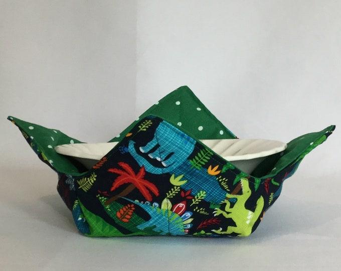 "Dinosaur Microwave Bowl Cozy-Medium 6"" Bottom Diameter; Leftover Hot Bowl Pad; Ice Cream Bowl Pad, Reversible - IPFG-000201"