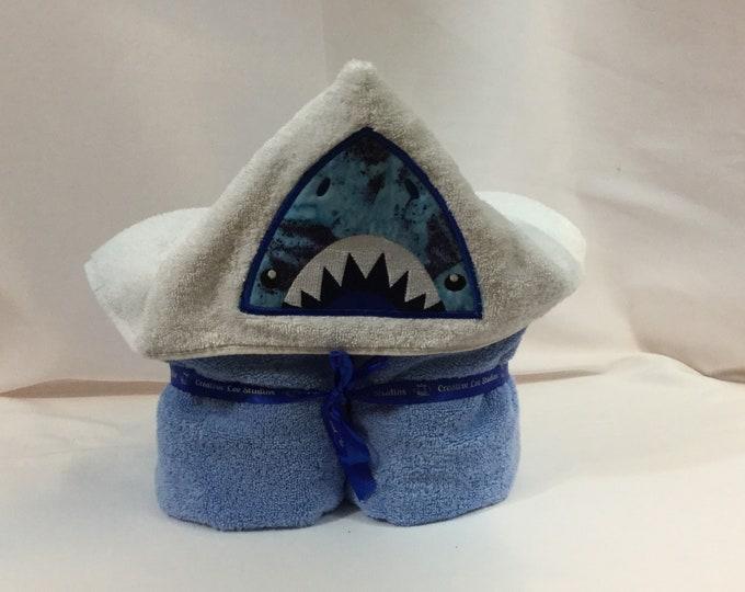 Shark Hooded Towel for Kids, Full Size Bath Towel, Shark Hoodie; Bath Wrap; FREE SHIPPING - IPFG-000048