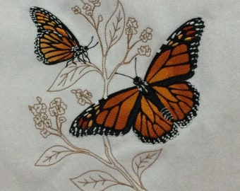 Kitchen Towel -  Butterflies - Monarchs on Delicate Leaves, FREE SHIPPING, Back Hanging Tab-IPFG-000418