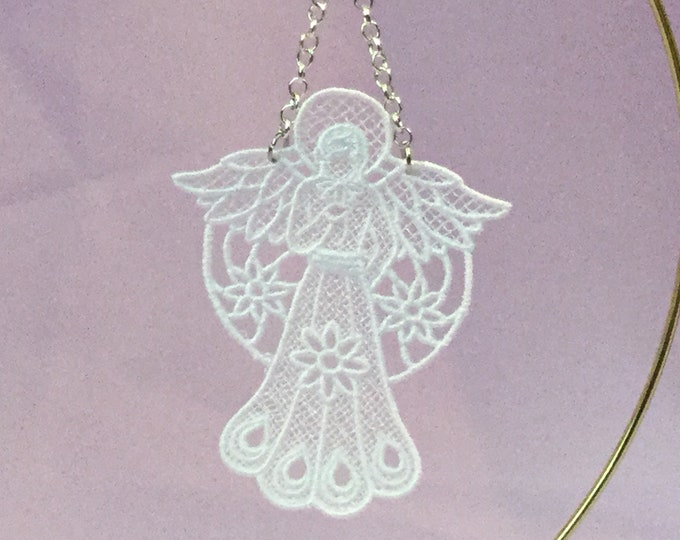 April Angel Lance Ornament; Free Standing Lace; Thread Created Angel;  Christmas Card Insert Gift; Gift for Mom - IPFG-000317