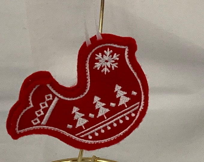 Nordic Bird Cookie Ornament made with Felt; Teacher Gift; Embroidered Flowers Ornament; FREE SHIPPING; Icing Cookie Ornament - IPFG-000276