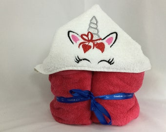 Unicorn Hooded Towel, Hearts Bow, Kid's Bath Wrap, Love Unicorn, Bath Wrap, IPFG-000211