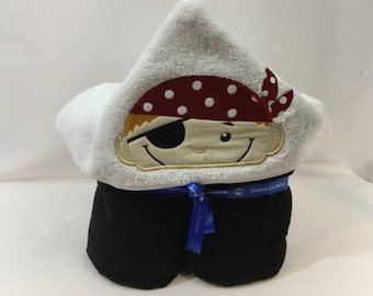 Pirate Hooded Towel for Kids, Black Towel, Blonde Hair, Bath Hoodie; Bath Wrap; FREE SHIPPING - IPFG-000102