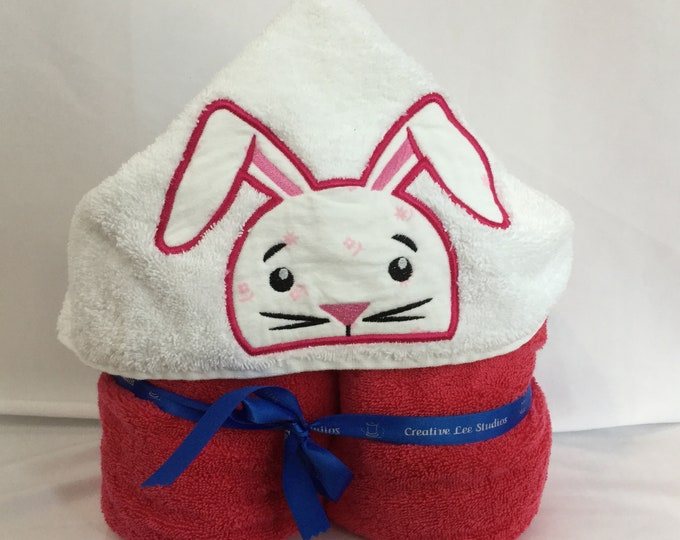"PERSONALIZE - Pink Bunny Hooded Towel with Pink Towel, Approx 30"" W x 52"" L, Appliqué Bath Towel, Kid's Hooded Towel; Bath Wrap- IPFG-000166"
