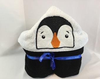 "Bath Wrap, Penguin Hooded Bath Towel for Kids, Black Towel -  30"" x 52""; Pool Towel; Hoodie Bath Towel - IPFG-000150"