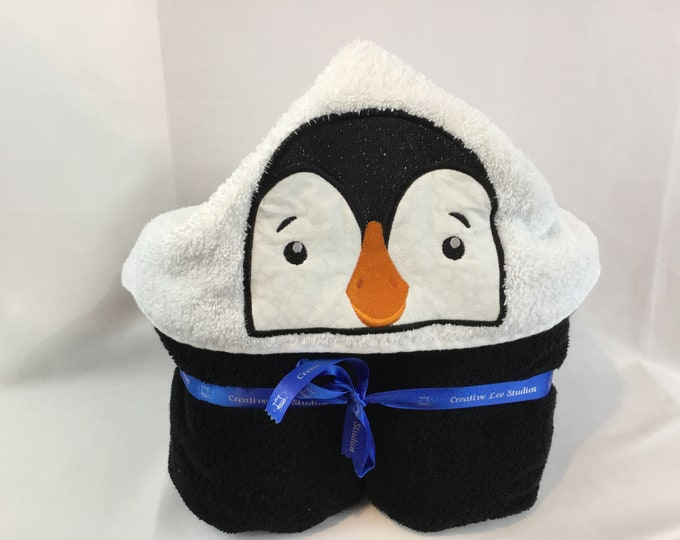 "PERSONALIZE - Penguin Hooded Bath Towel with Black Towel -  30"" x 52""; Pool Towel; Kid's Bath Hooded Towel; Bath Wrap - IPFG-000150"