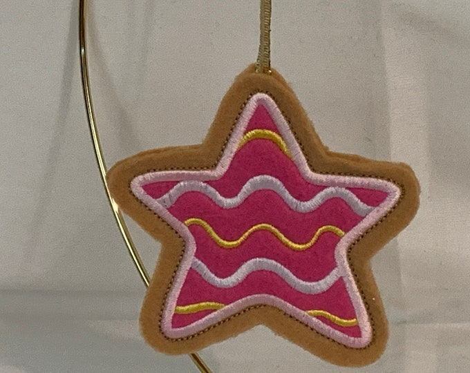 Pink Icing Star Cookie Ornament made with Felt; Embroidered Star Ornament; FREE SHIPPING; Icing Cookie Ornament - IPFG-000246