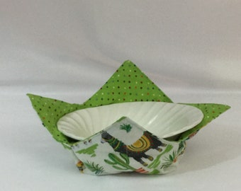 Llama Microwave Bowl Cozy; Medium, Salad Bowl Size, Reversible, Free Shipping, Hot Bowl Pad-IPFG-000345
