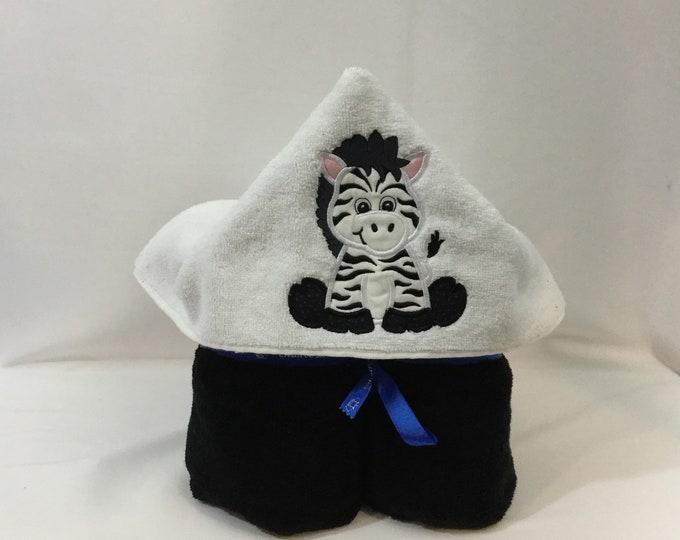 Zebra Hooded Towel for Kids, FREE SHIPPING, Full Size Plush Bath Towel; Bath Wrap - IPFG-000417