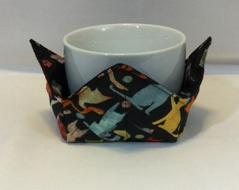 "Playful Cats and Toys Microwave Bowl Cozy-Small; 4"" Bottom Diameter; Coffee Cup Size; Small Bowl Size; Reversible - IPFG-000449"