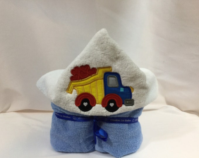 Heart Dump Truck Hooded Towel for Kids, FREE SHIPPING, Full Size Bath Towel, Plush Towel; Kid's Bath Wrap - IPFG-000412