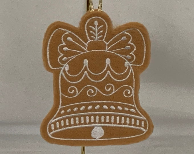 Bell Gingerbread Cookie Ornament; Christmas Bell Ornament; Embroidery Felt Ornament; FREE SHIPPING; Tree Ornament - IPFG-000249