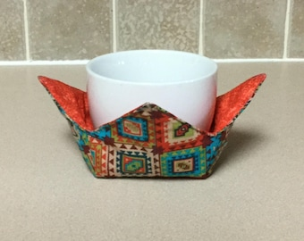 "Southwest Style Orange Microwave Bowl Cozy 4"" Small, Ice Cream Bowl Pad, Coffee Cup Size; Small Bowl Size; Reversible - IPFG-000072"