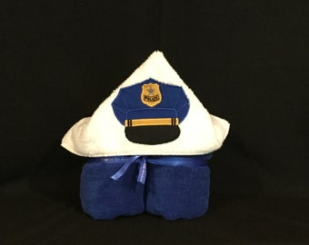 Police Hat Hooded Towel for Kids, Police Towel, Full Size Bath Towel, Bath Wrap; FREE SHIPPING IPFG-000295