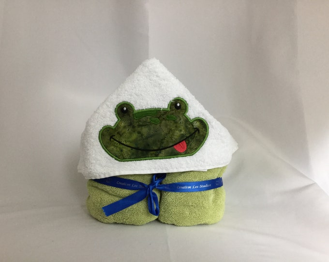 Frog Hooded Towel for Kids, Full Size Bath Towel, Hoodie, Bath Wrap, FREE SHIPPING - IPFG-000050