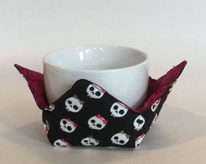 "Sugar Babies Skulls Microwave Bowl Cozy-Small; 4"" Bottom Diameter; Coffee Cup Size; Leftover Hot Bowl Pad; Small Bowl Size - IPFG-000089"