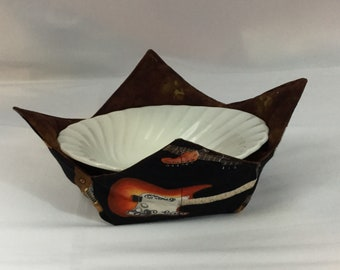 Guitar Crazy Microwave Bowl Cozy; Medium, Salad Bowl Size, Reversible, Free Shipping, Hot Bowl Pad-IPFG-000366
