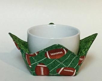 "Touchdown! Footballs on the Yard Line Microwave Bowl Cozy-Small; 4"" Bottom Diameter; Football Hot Bowl Pad; Reversible - IPFG-000074"