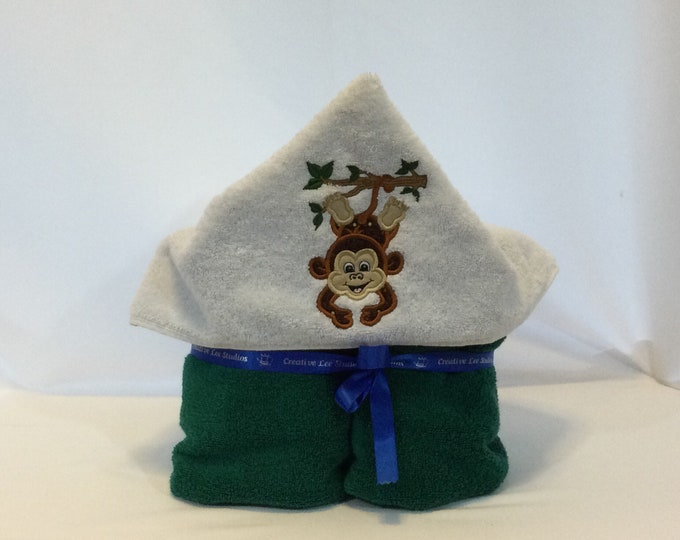 Boy Monkey Hooded Towel for Kids, FREE SHIPPING, Full Size Bath Towel, Hoodie; Bath Wrap - IPFG-000424