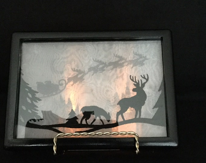 3-D Santa Sleigh Ride; 3-D Silhouette Shadowbox;with Stand and Battery Candles, Santa Claus; Christmas Sleigh; Reindeer - IPFG-000117