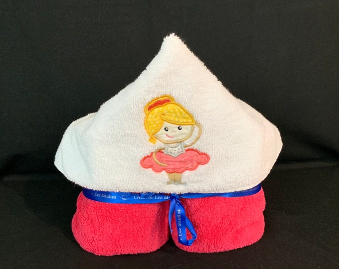 Princess Ballerina Hooded Towel for Kids, FREE SHIPPING, Full Size Plush Bath Towel; Bath Wrap - IPFG-000265