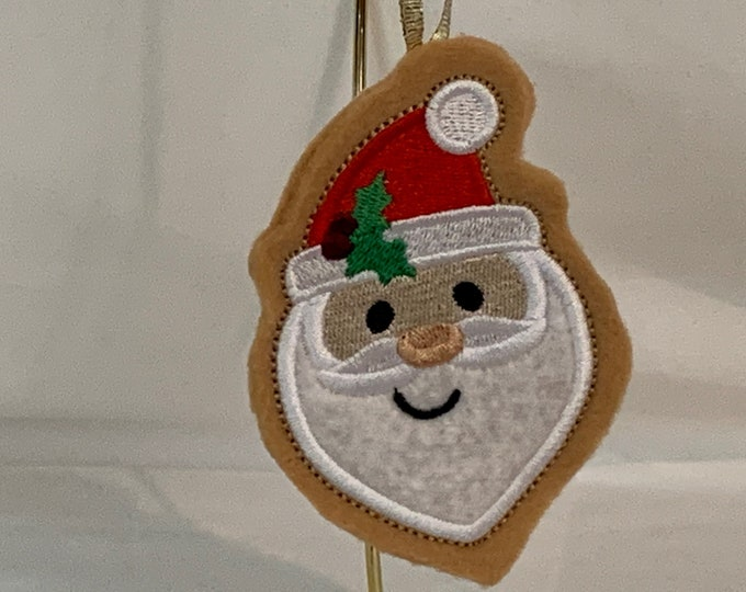 Santa Cookie Ornament made with Felt; Embroidered Santa Ornament; FREE SHIPPING; Icing Cookie Ornament - IPFG-000242
