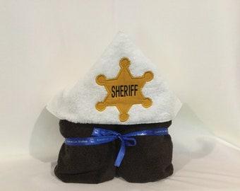 Sheriff Badge Hooded Towel for Kids, FREE SHIPPING, Full Size Plush Bath Towel; Bath Wrap -  IPFG-000294