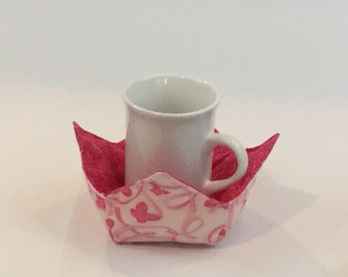 "Pink Butterfly Microwave Bowl Cozy-Small 4"" Bottom Diameter; Ice Cream Bowl Pad, Coffee Cup Size; Small Bowl Size; Reversible - IPFG-000128"