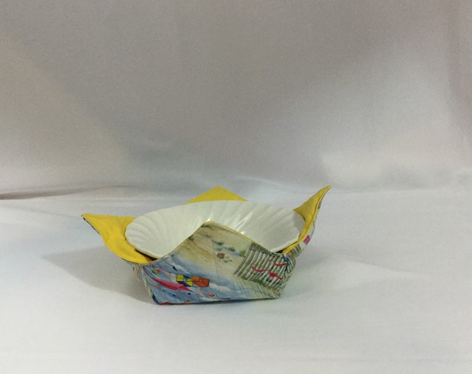 Kites at the Beach Microwave Bowl Cozy; Medium, Salad Bowl Size, Reversible, Free Shipping, Hot Bowl Pad-IPFG-000359