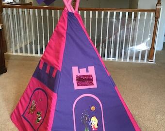 Princess Teepee; Girl Teepee; Handsome Prince, Princess and Dragon Embroidered on Teepee; 4 Flags - IPFG-000043