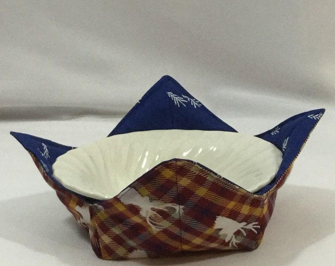 Deer Hunters Microwave Bowl Cozy; Medium, Salad Bowl Size, Reversible, Free Shipping, Hot Bowl Pad-IPFG-000349