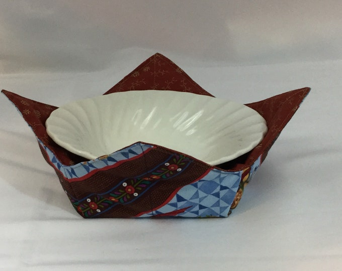 Country Fair Microwave Bowl Cozy; Medium, Salad Bowl Size, Reversible, Free Shipping, Hot Bowl Pad-IPFG-000370