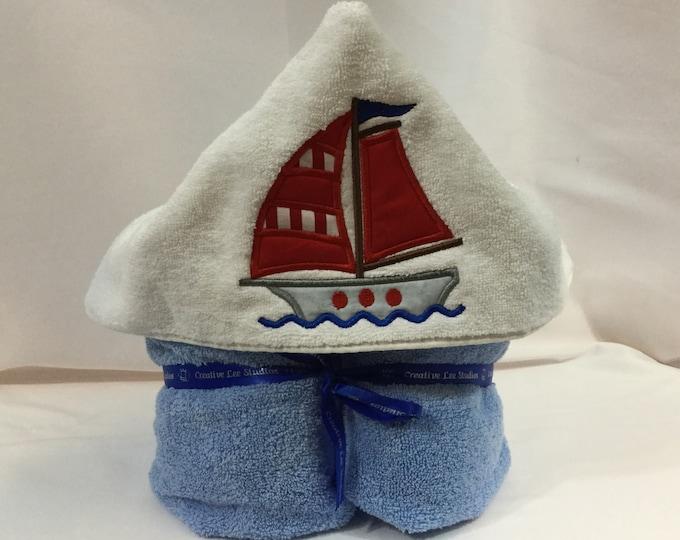 Sailboat Hooded Towel for Kids, FREE SHIPPING, Full Size Bath Towel, Plush Towel; Kid's Bath Wrap - IPFG-000414