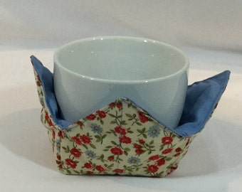 "Daisies / Roses Microwave Bowl Cozy-Small 4"" Bottom Diameters, Coffee Mug and Small Ice Cream Bowl Size, FREE SHIPPING-IPFG-000337"