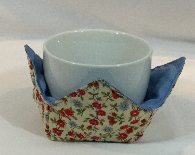 """Daisies / Roses Microwave Bowl Cozy-Small 4"""" Bottom Diameters, Coffee Mug and Small Ice Cream Bowl Size, FREE SHIPPING-IPFG-000337"""