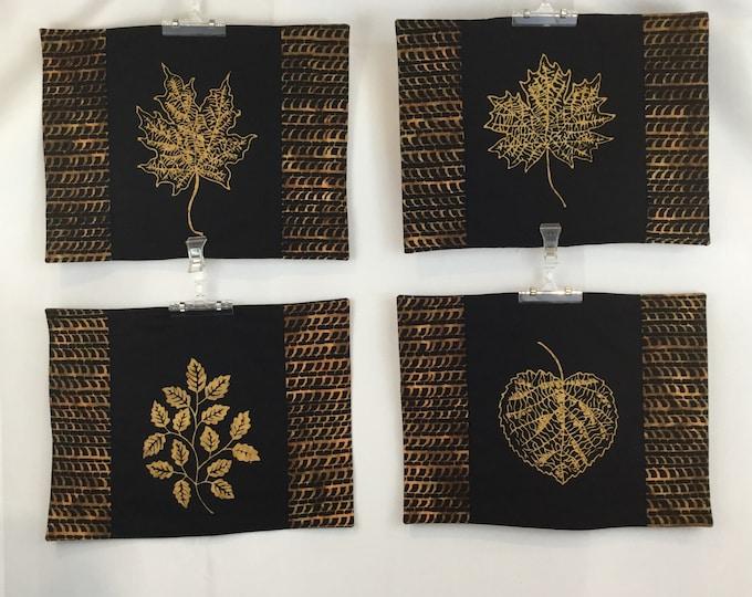 Placemat Set - set of 4 - Batik Gold Leaf Placemats for Your Table, Batik Fabic - IPFG-000016