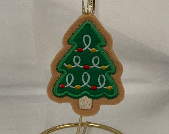 Christmas Tree Cookie Ornament with Yellow and White Christmas Ornaments, Embroidered Ornament, FREE SHIPPING; Icing cookie - IPFG-000274