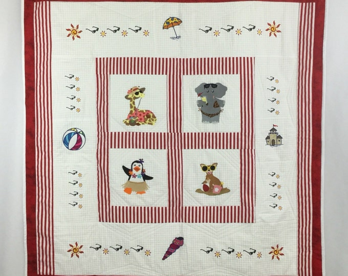Embroidered Quilt,  Girls at the Beach Quilt; Elephant, Giraffe, Penguin & Chihuahua; Handmade Quilt, Baby Quilt, Animal Quilt - IPFG-000110