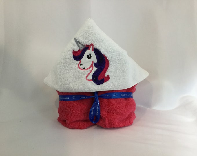 "Unicorn Hooded Towel for Kids, Purple & Pink Mane, Approx 30"" W x 52"" L; Hot Pink Plush Towel; Bath Wrap; FREE SHIPPING - IPFG-000212"