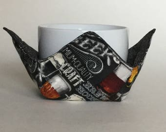 """Beer Brew House Microwave Bowl Cozy-Small 4"""" Bottom Diameter; Coffee Cup Size, Small Cup Ice Cream Bowl Pad, Reversible - IPFG-000076"""