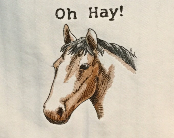 "Kitchen Towel - Oh Hay! Horse, 28""x20"", FREE SHIPPING, Multi-Colored Strip-Funny Saying Towel-100% Cotton Towel-Back Hanging Tab-IPFG-000399"